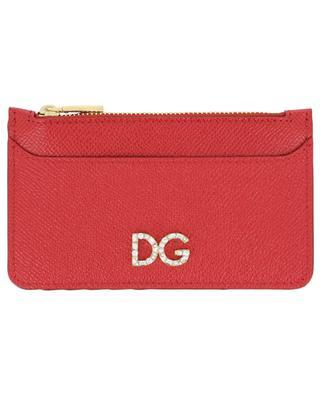 Kartenetui aus Leder mit Reissverschluss DG Logo Strass DOLCE & GABBANA
