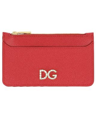 DG Logo Strass zippered leather card holder DOLCE & GABBANA