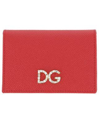 Kartenetui aus Leder mit Klappe DG Logo Strass DOLCE & GABBANA