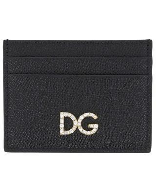 Kartenetui aus Dauphine-Leder DG Logo Strass DOLCE & GABBANA