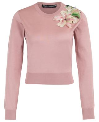 Lily fitted silk jumper with floral application DOLCE & GABBANA