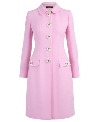 Lily cinched wool coat with decorative buttons DOLCE & GABBANA