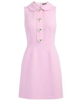 Lily wool mini dress with floral buttons DOLCE & GABBANA