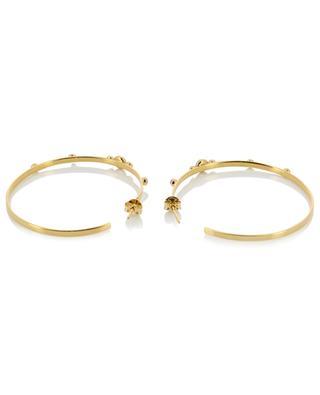 Maya PM gold earrings with rhodochrosite CAROLINE NAJMAN