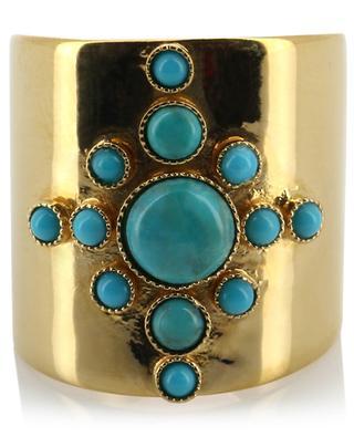 Verstellbarer goldener Ring mit Türkis CAROLINE NAJMAN