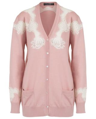 Long thin V-neck cardigan with lace DOLCE & GABBANA