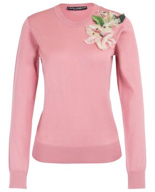 Lily straight silk jumper with floral application DOLCE & GABBANA