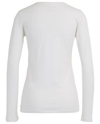 T-Shirt mit V-Ausschnitt aus Baumwolle und Kaschmir MAJESTIC FILATURES