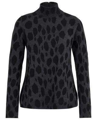 Animal inlay jumper with stand-up collar AKRIS PUNTO