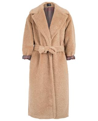 Shearling effect coat with belt FAKE FUR
