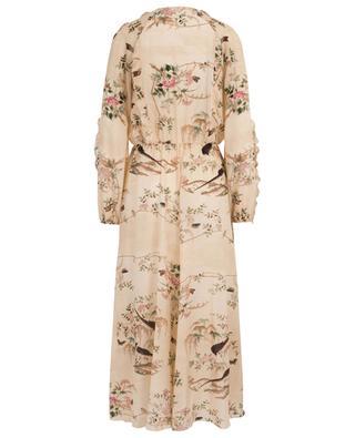 Langes Seidenkleid mit Vogelprint Chinese Lacquer RED VALENTINO
