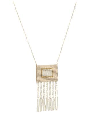 Samburu Tassel golden necklace with woven beads SIDAI DESIGNS