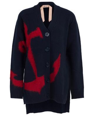 Cardigan jacquard long motif ancre N°21