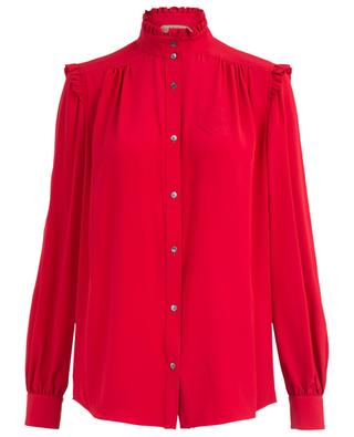 Breezy shirt with ruffled stand-up collar N°21