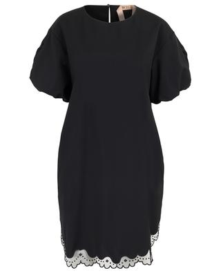 Loose dress embellished with scalloped embroidered tulle N°21