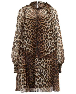 Leopard print short muslin dress N°21