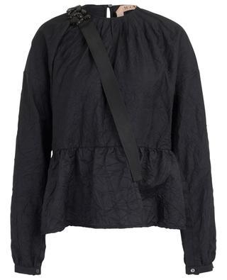 Bluse aus Baumwollmix in Crinkle-Optik N°21