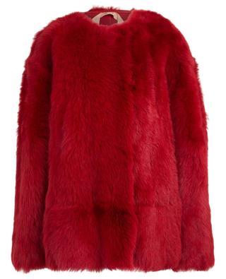 Manteau en peau lainée rouge N°21