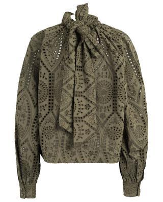Openwork stitching adorned blouse with necktie GANNI