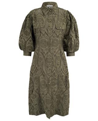 Openwork stitching embellished fitted shirt dress GANNI