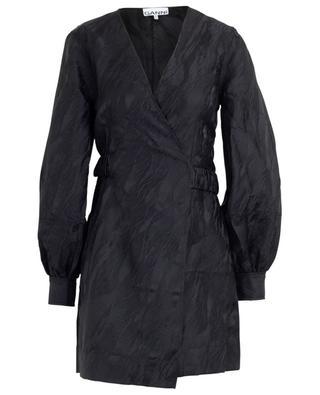 Textured jacquard mini wrap dress GANNI