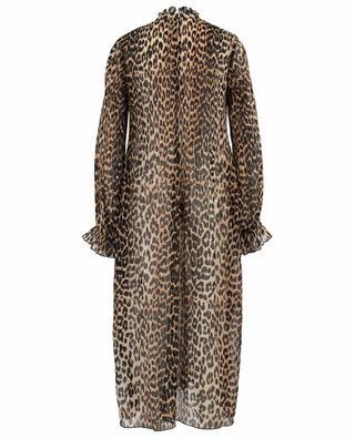 Langes Kleid aus plissierter Georgette mit Leopard-Print GANNI