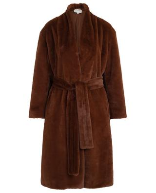 Faux fur belted coat VINCE