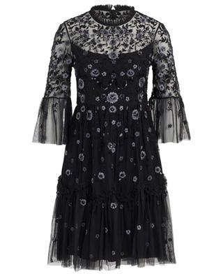 Kurzes Kleid aus Tüll mit bestickten Blumen Dahlia NEEDLE &THREAD