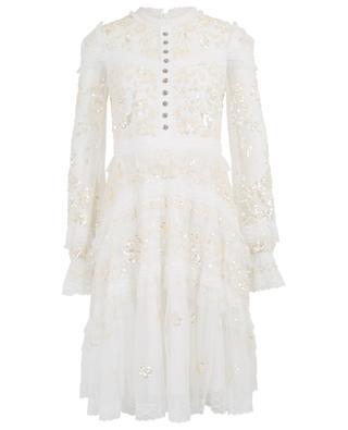 Kleid aus Tüll mit Paillettenstickereien NEEDLE &THREAD