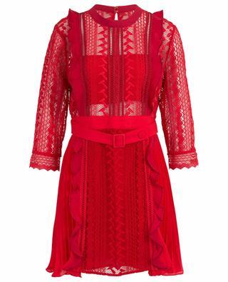 Geometric Lace pleated mini dress SELF PORTRAIT