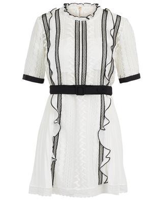 Monochrome lace frilled mini dress SELF PORTRAIT