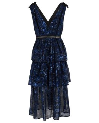 Check Sequin wrap effect glittering midi dress SELF PORTRAIT