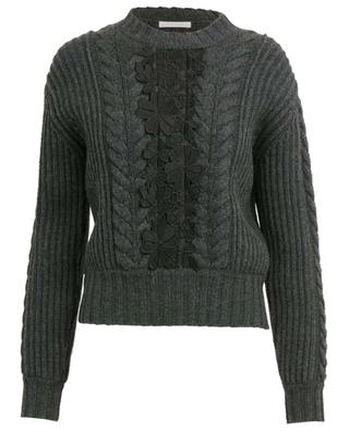 Floral lace adorned cable knit jumper SEE BY CHLOE
