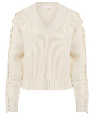Pullover aus Wollmix mit V-Ausschnitt und Klöppelspitze SEE BY CHLOE