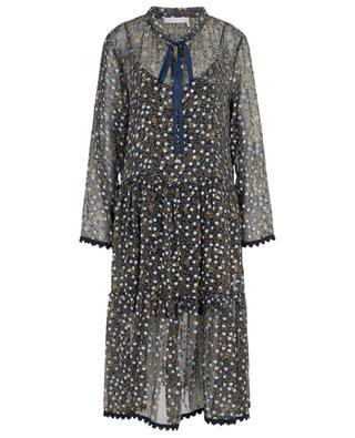Langes geblümtes Kleid mit Samttupfen Micro Floral SEE BY CHLOE