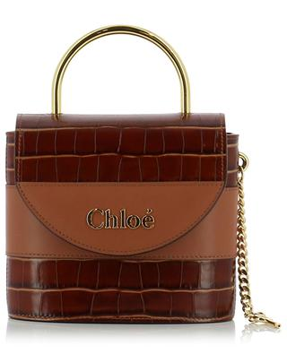 Handtasche aus Leder in Kroko-Optik Aby Lock Small CHLOE