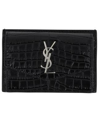 Uptown croc effect card holder with flap pocket SAINT LAURENT PARIS