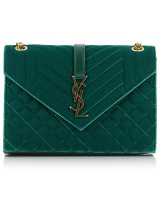 Tasche aus gestepptem Samt mit Leder Envelope Medium SAINT LAURENT PARIS