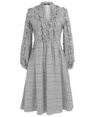 Kurzes Kleid aus Seide mit Graphik-Print und Rüschen SLY 010
