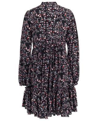 Kurzes Empire-Kleid aus geblümter Seide mit Rüschen SLY 010