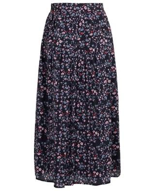 Long pleated floral crepe skirt SLY 010