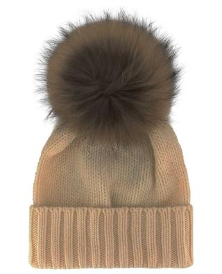 Giulietta rib knit beanie with fur pompon INVERNI FIRENZE