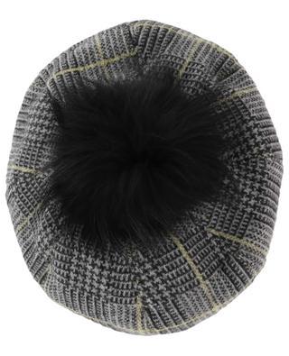 Check beret with fur INVERNI FIRENZE