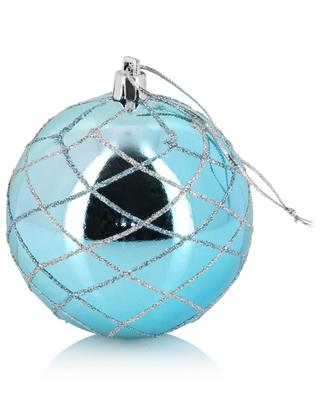 Glitter adorned turquoise Christmas bauble KAEMINGK