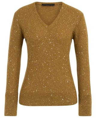 Fitted sequin embroidered V-neck jumper FABIANA FILIPPI