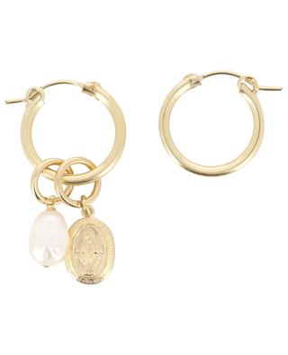 Mystic golden hoop earrings with pearl and pendant RUEBELLE MAUI PARIS