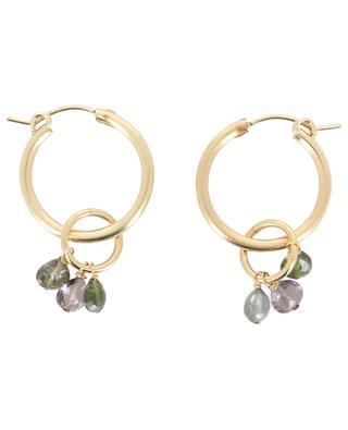 Golden tourmaline adorned hoop earrings RUEBELLE MAUI PARIS