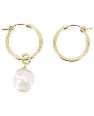Créoles dorées ornées d'une perle irrégulière RUEBELLE MAUI PARIS