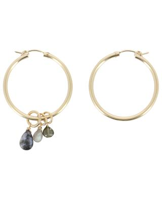 Golden hoop earrings with stone charms RUEBELLE MAUI PARIS