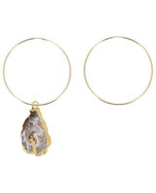 Large hoop earrings with druzy RUEBELLE MAUI PARIS